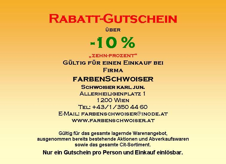 rabatt gutschein rabatt gutschein farbenschwoiser 1200 wien. Black Bedroom Furniture Sets. Home Design Ideas