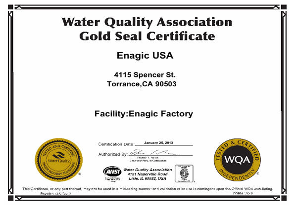 Goldzertifikat der amerikanischen Wasserqualitätsvereinigung
